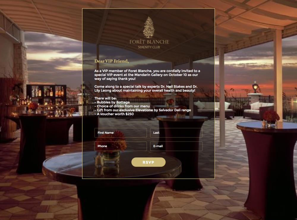 Final design of website when viewed on desktop