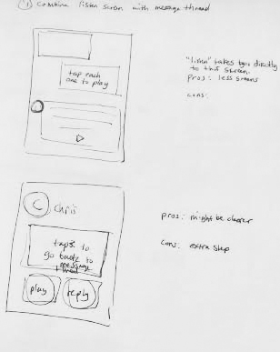 Initial sketch of new screen that would read incoming messages.