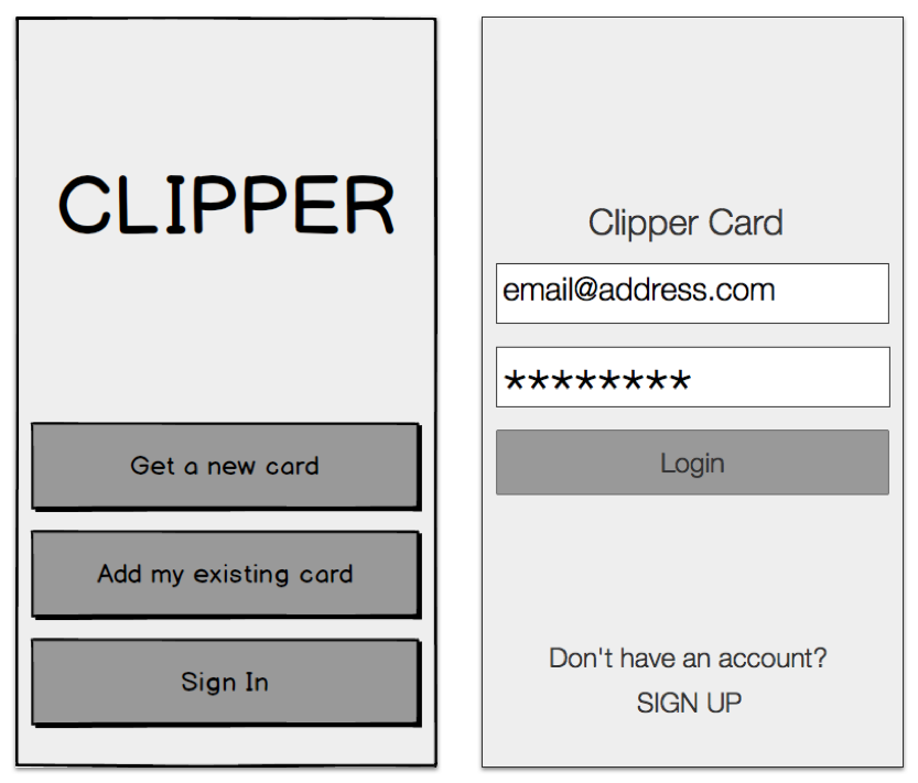 Login / Signup Users were confused by the three options presented to them in the first iteration. (left) For the second iteration we implemented a more standard login screen. (right)