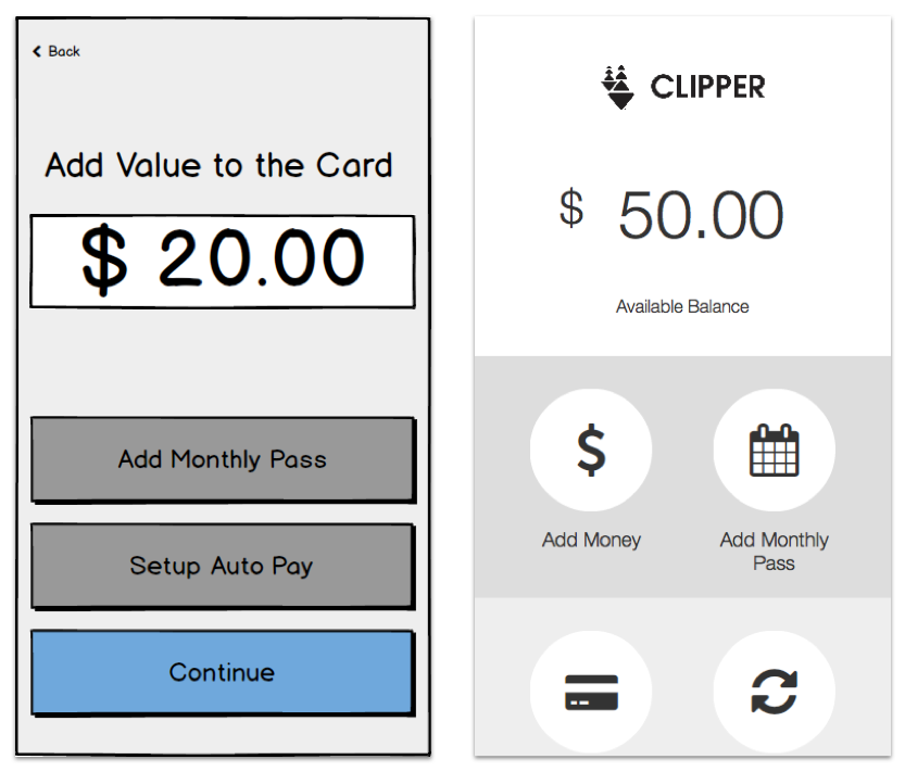 Add Value With no other choices obvious, users didn't know how to change what kind of value they wanted to add. (left) We fixed the second iteration by including a central page where they can select the option they want. (right)