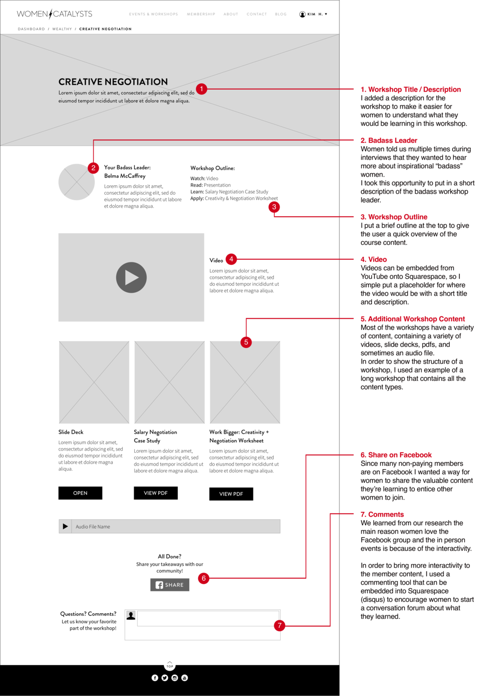 View workshop:The challenge for viewing a workshop was figuring out how to layout workshop material inside a Squarespace template.
