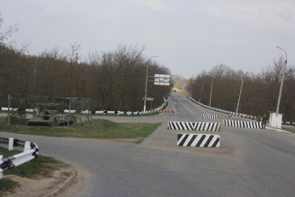 Un punto di confine tra Moldova e Transnistria