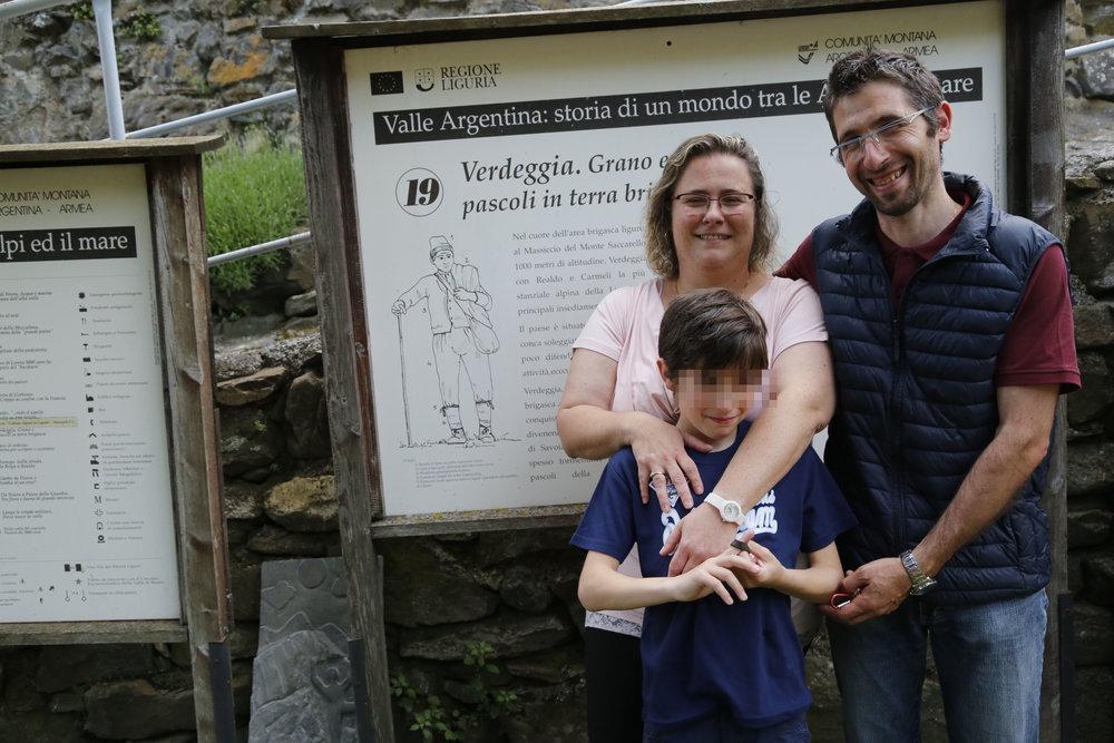 Daniele Lanteri con la moglie Sara e il figlio