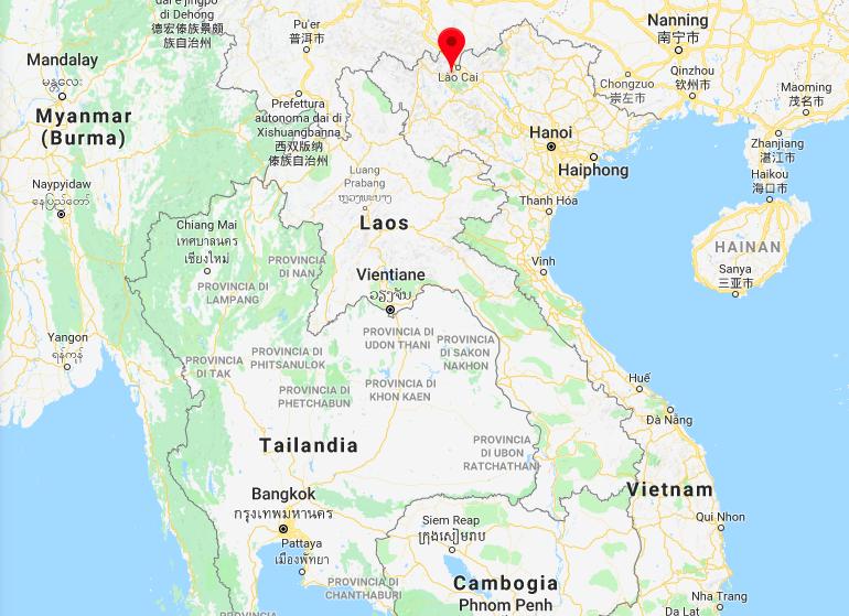 La posizione di Sapa, in Vietnam