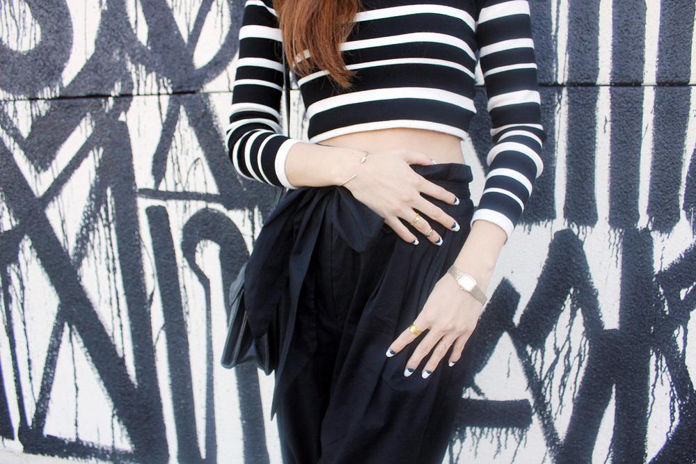 Retna graffiti, Kinsley crop top, Vintage Omega watch, Baublebar bracelet, Vintage rings