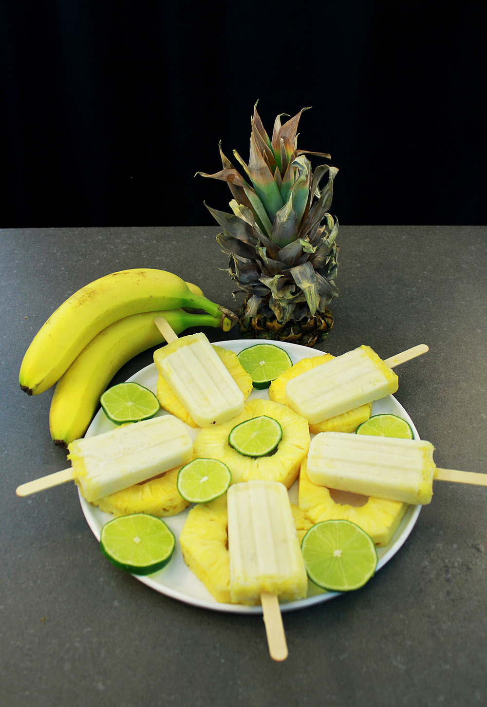 Vegan Pina Colada Popsicle Platter is so tropical!