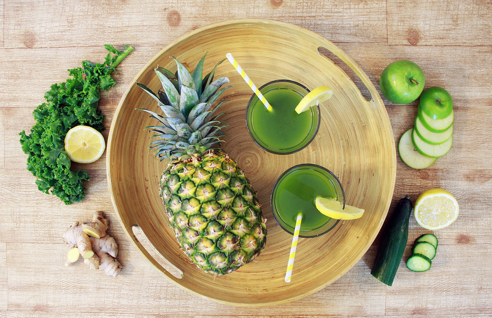 Pineapple Green Juice Ingredients: Pineapple, Kale, Cucumber, Green Apple, Lemon, Ginger