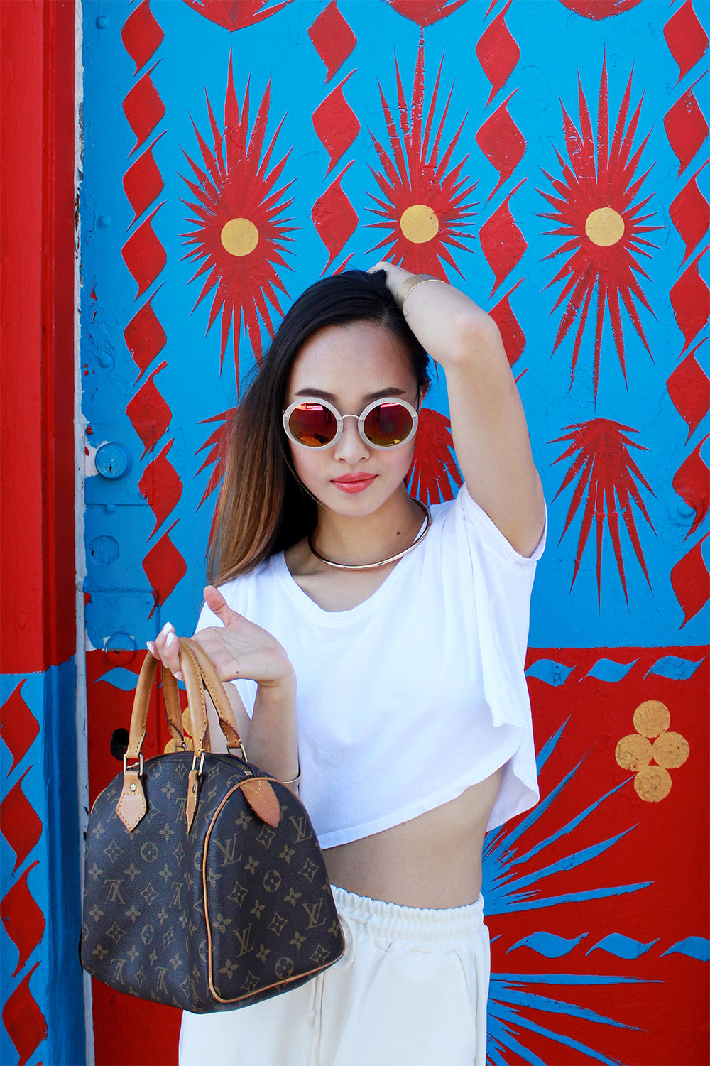 Stylenanda sunnies, Zara crop top and necklace, Madewell bracelets, LV Speedy 25