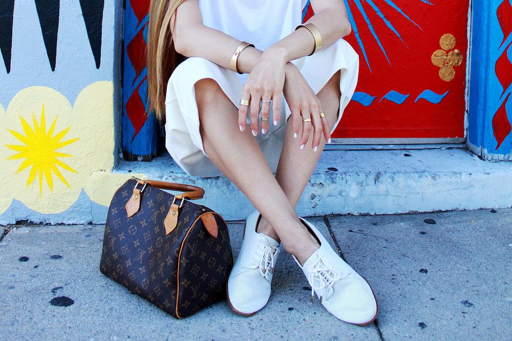 Louis Vuitton Speedy 25,Zara bluchers, Madewell bracelets