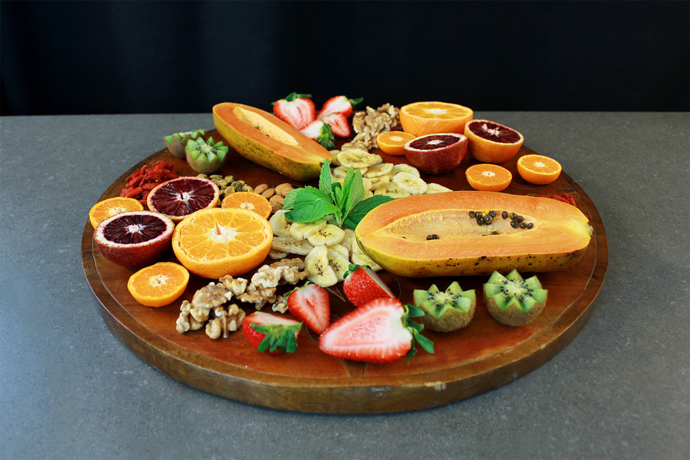 The fruit and nut platter is perfect as a snack tray!