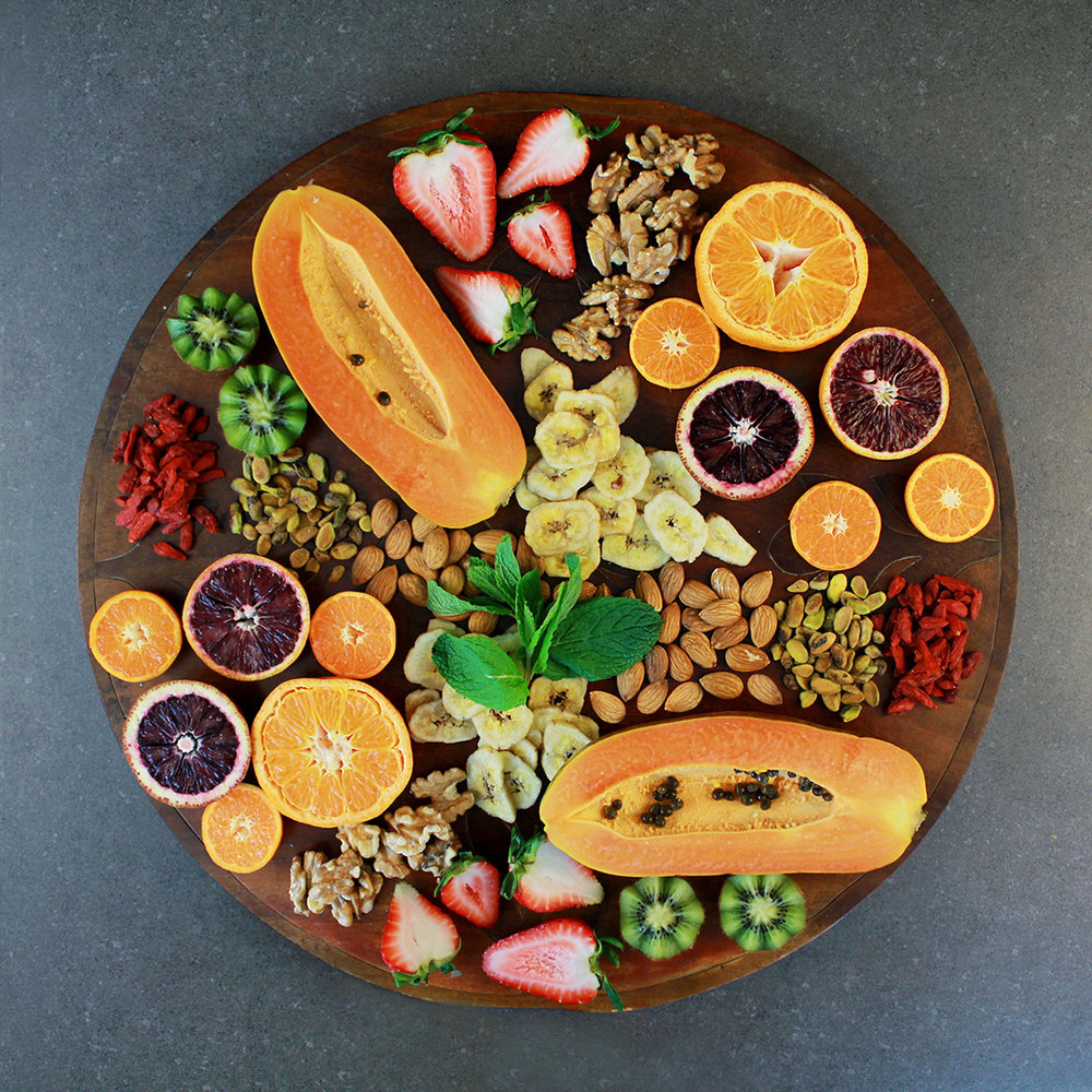 The fruit and nut platter in the colors of fall make for a beautiful snack tray!