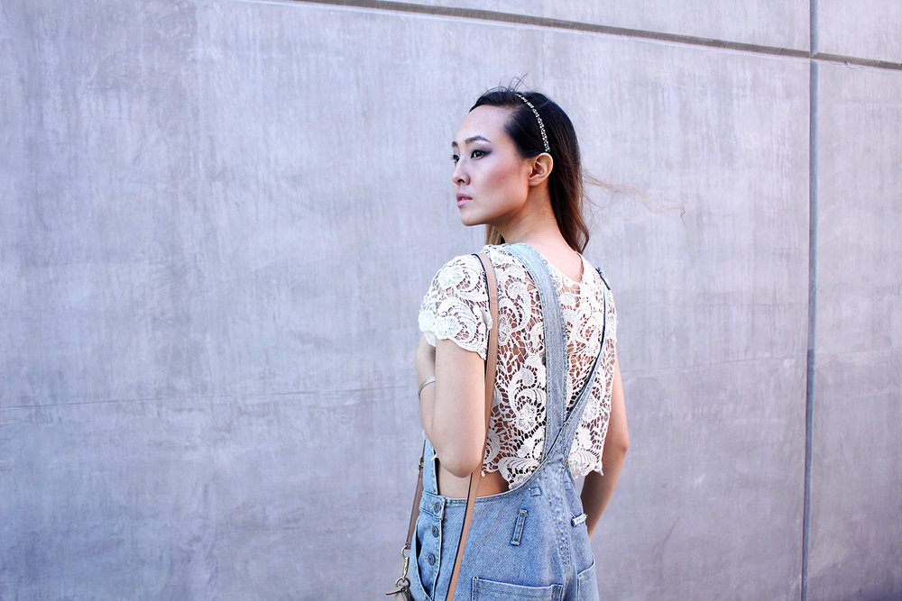 Lace details and boxy overalls