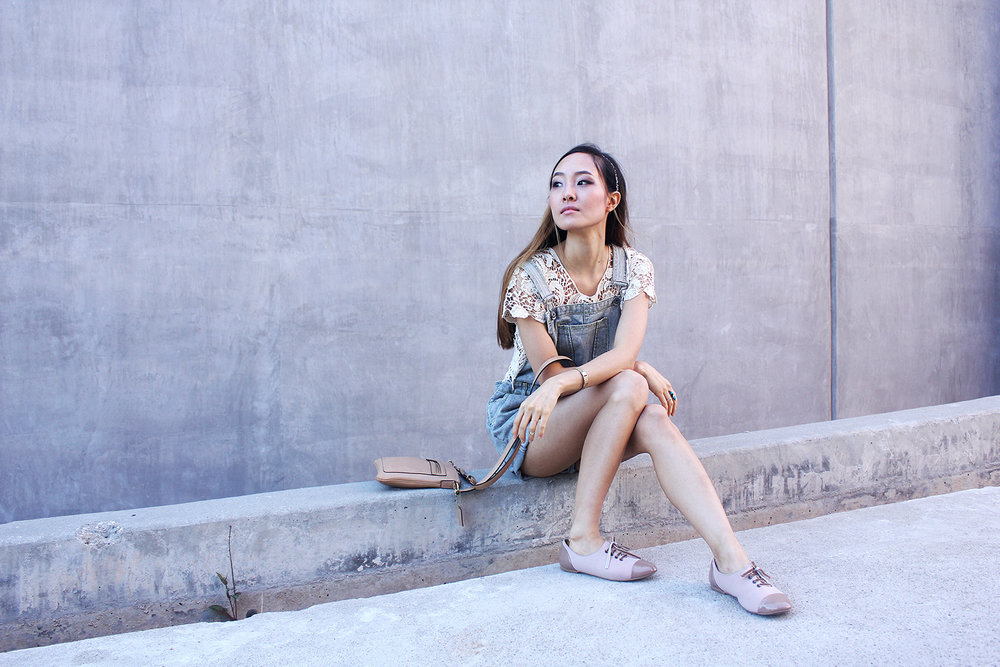 Lace and denim overalls in Culver City