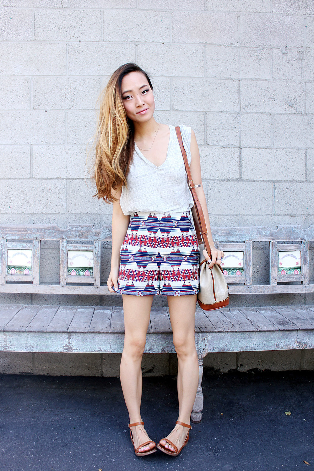 Madewell shirt and shoes, Zara Shorts, Dooney & Bourke Bag