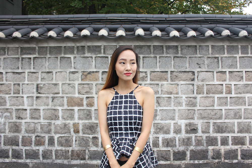 Pattern Play with the Korean traditional stone brick wall and checkered top by Tobi.