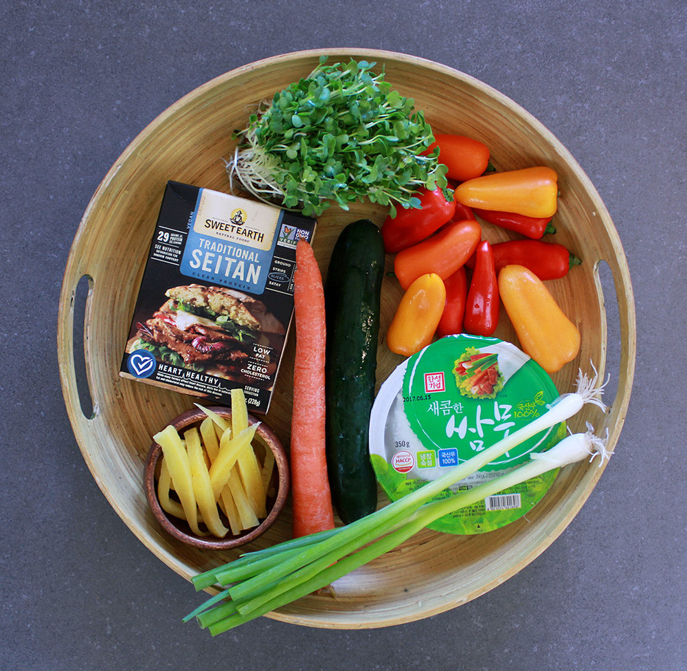 Tray of vegetarian ingredients prepping for the Korean Ssam Mu Radish Wrap.