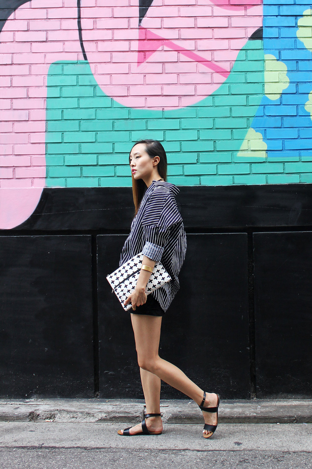 Monochromatic pattern play in Itaewon Clutch by Butter, sandals by J.Crew