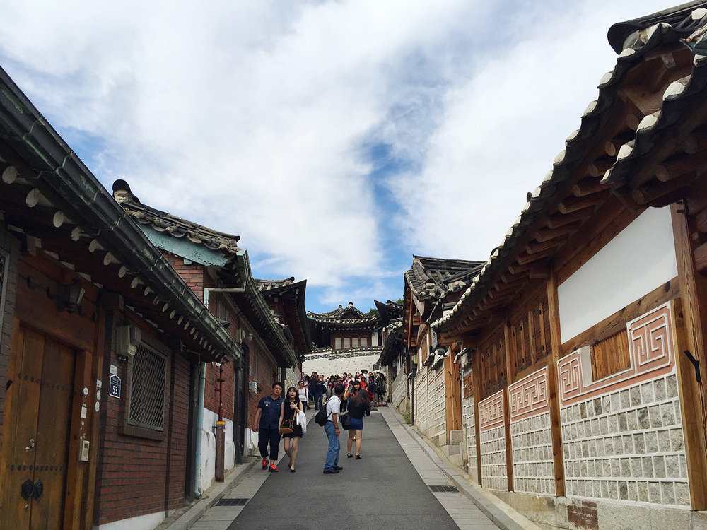 Getting lost maneuvering the maze of alleys in Bukchon Hanok Village.