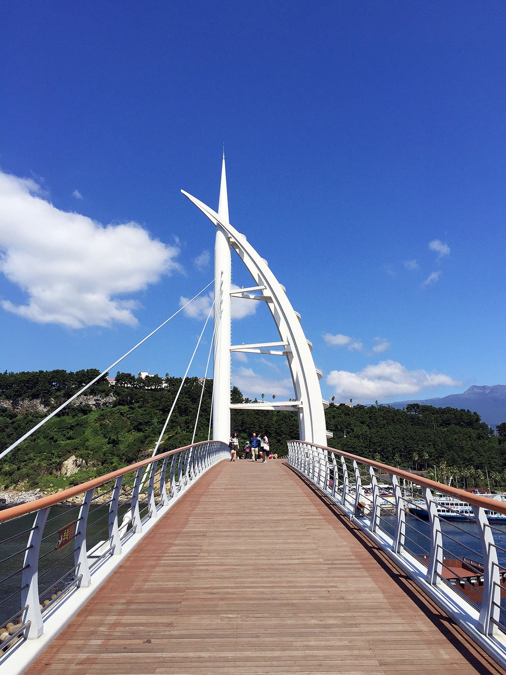 Beautiful blue skies at the Seogwipo Bridge