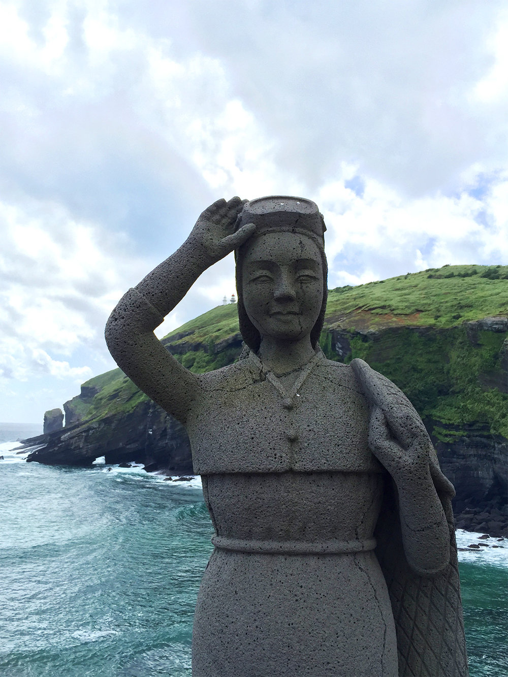 "The haenyeo ""sea woman"" is an icon of Jejudo Island. These female divers have been diving for seafood for centuries and represent the matriarchal society that has developed on the island."
