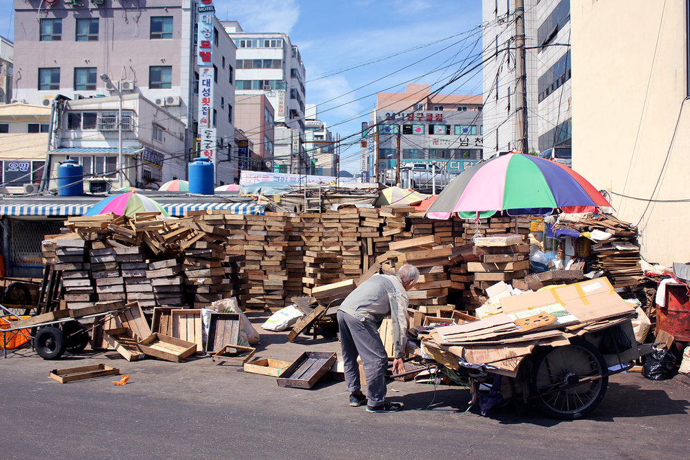 An elderly man collects cardboard boxes from the stacks of empty waste behind the Jagalchi Fish Market.