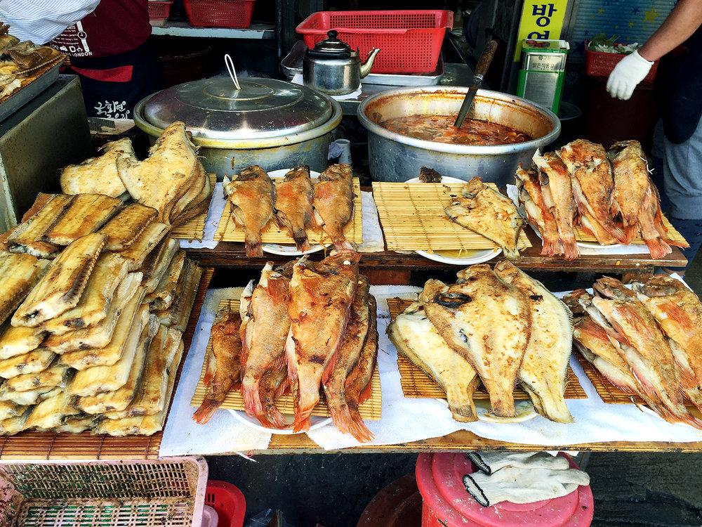 Various fried fish at the Jagalchi Fish Market.
