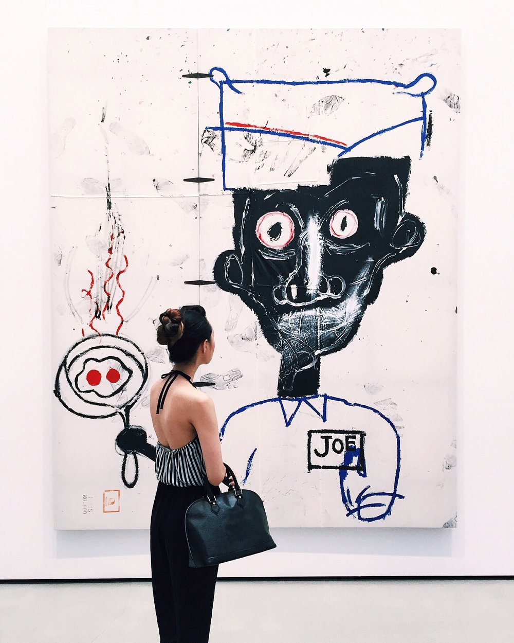 Jean-Michel Basquiat Eyes and Eggs 1983 Acrylic, oil stick and paper collage on cotton drop cloth with metal hinges