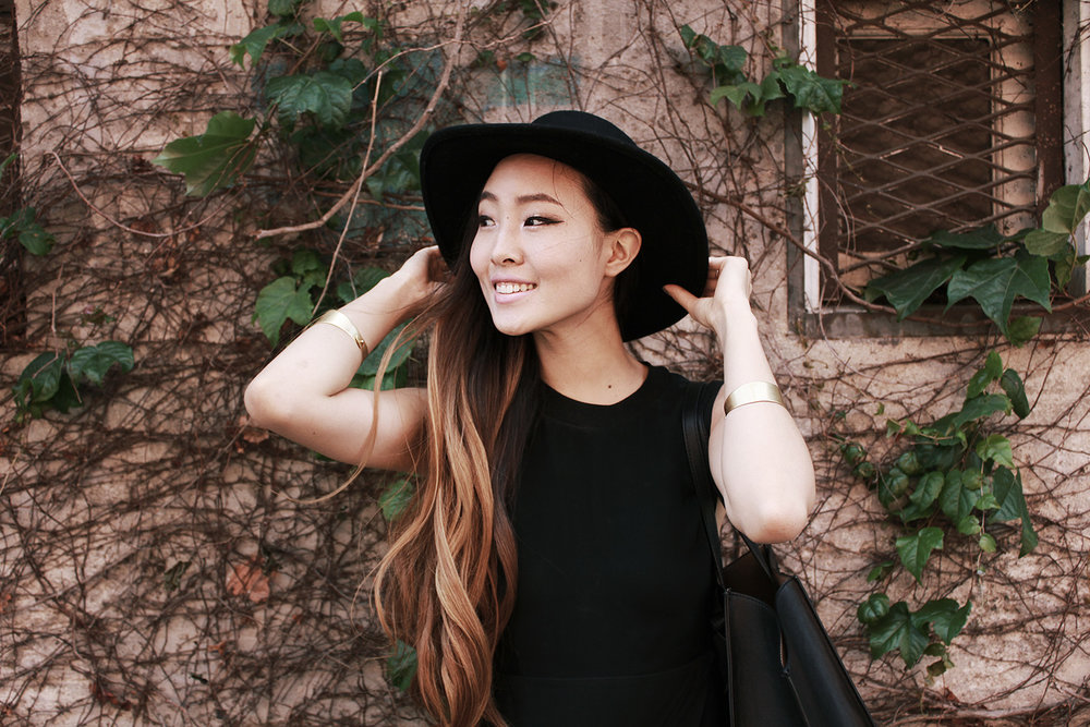 Stylenanda hat, Madewell bracelets