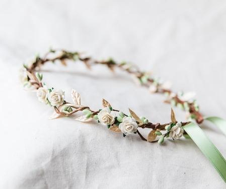 kisforkani cream gold green berry leaf hair wreath