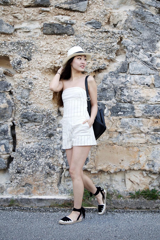 Zara romper, Zara espadrilles, Sensi Studio Panama Hat