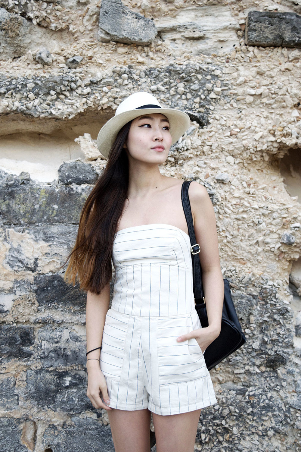 Rocking a Striped Romper in Bermuda | CASUAL VACATION OUTFIT | SPRING OUTFIT | SUMMER OUTFIT | SUMMER STYLE | OUTFIT PERFECT FOR VACATION | TRAVEL OUTFIT | SPRING FASHION | SUMMER FASHION | ZARA ROMPER | ZARA ESPADRILLES | SENSI STUDIO PANAMA HAT |