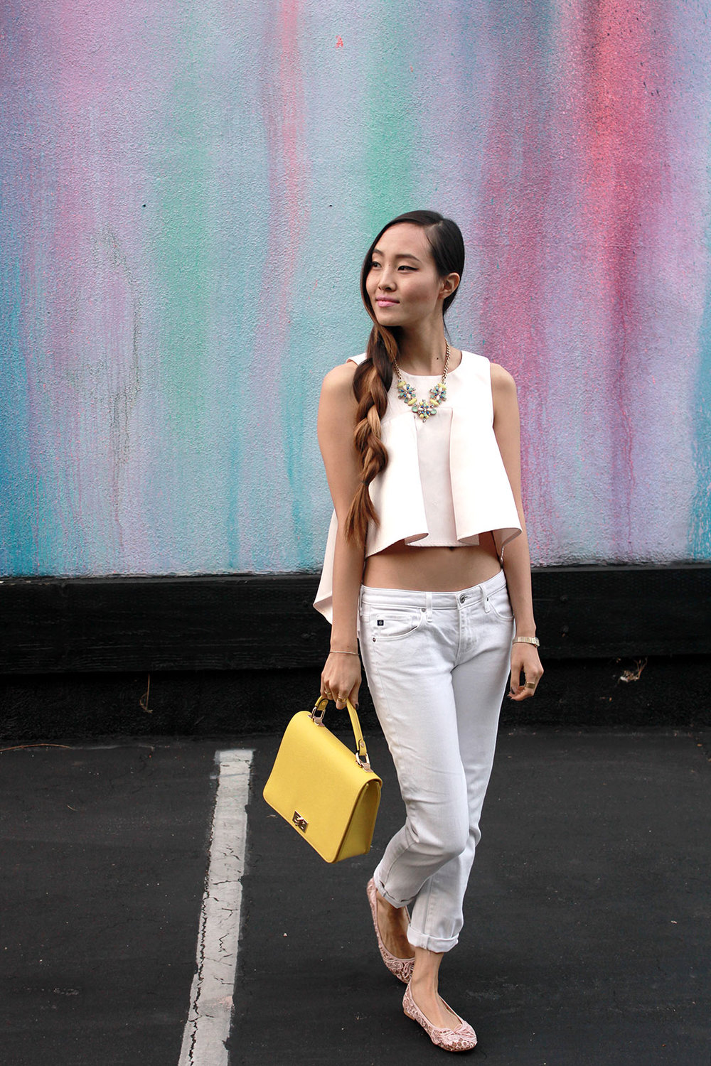 Nasty Gal top, Baublebar necklace, AG jeans, H&M flats, bag from a boutique in Seoul