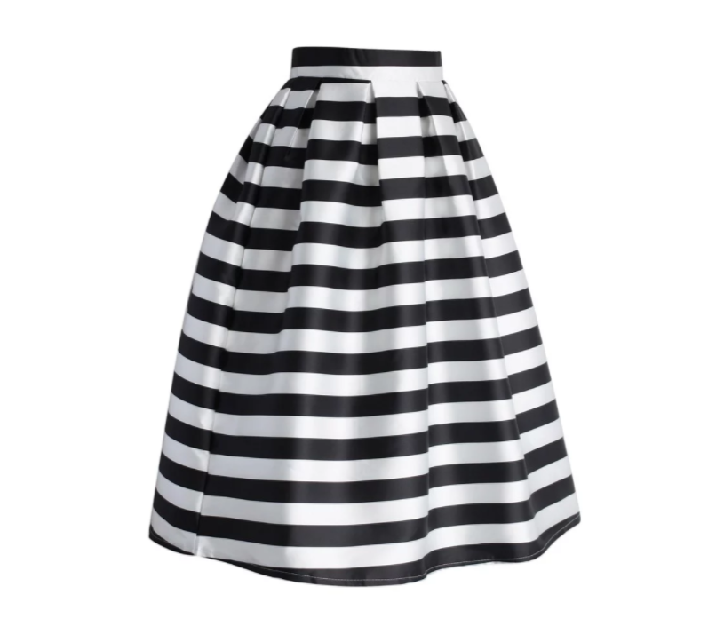 Chicwish Stripes Full A-line Midi Skirt