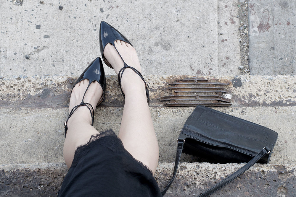 Aquazzura patent leather flats and Fossil crossbody bag