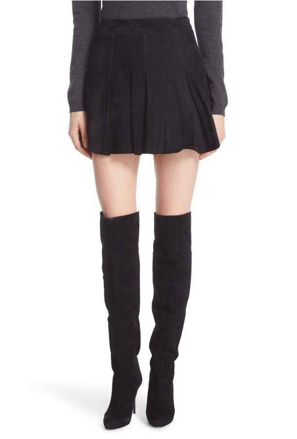 Alice & Olivia 'Lee' Pleated Suede Skirt