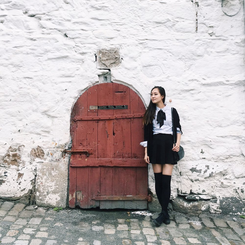 An old door in one of the historic buildings that are part of Bryggen, a UNESCO World Heritage Site. <3