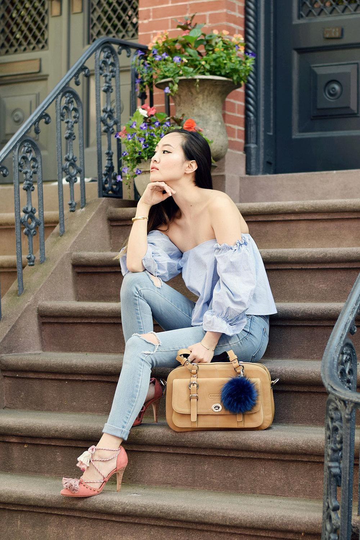Zara top, Stylenanda jeans, Ulla Johnson heels, Coach bag