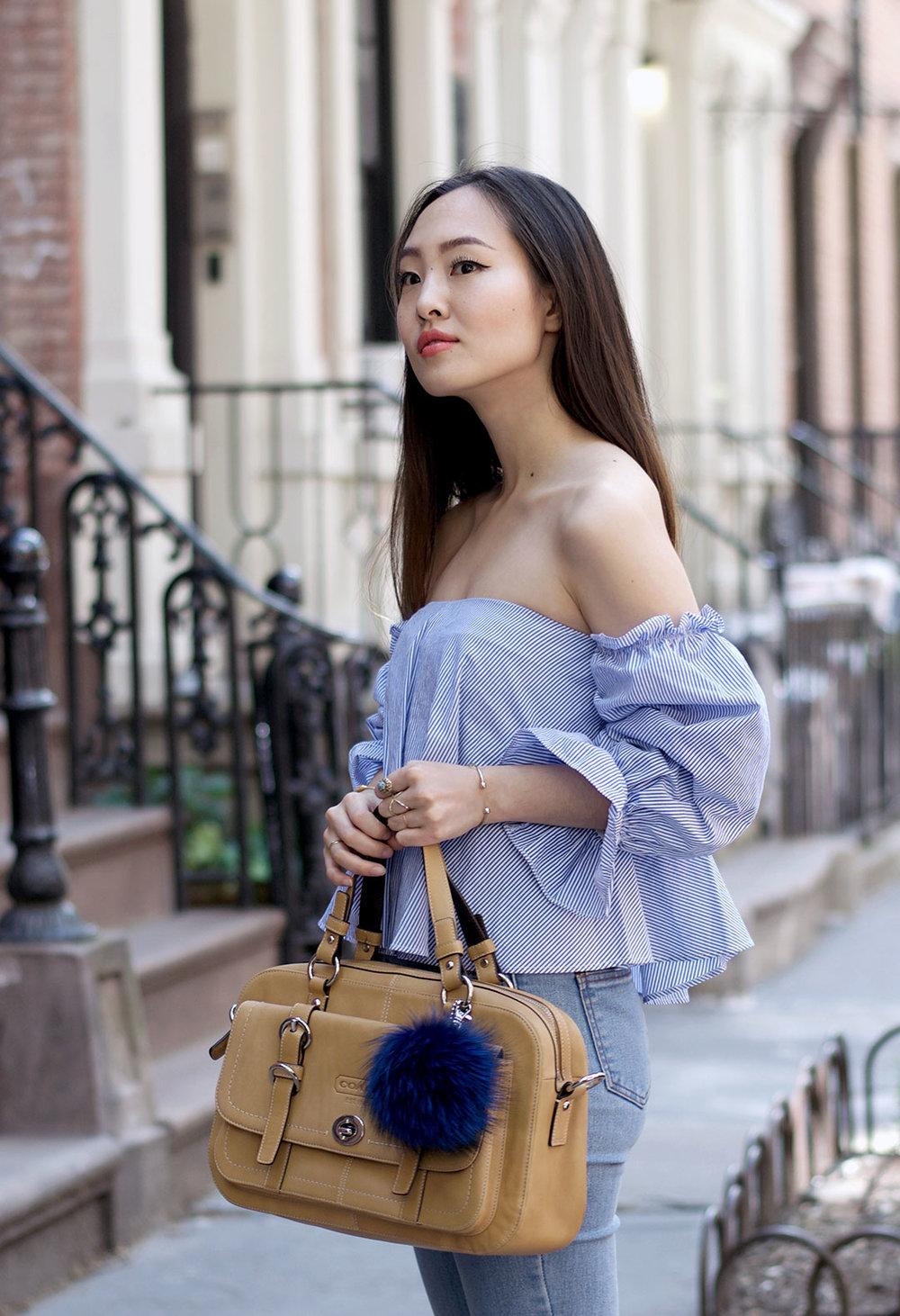 Zara top, Stylenanda jeans, Coach bag