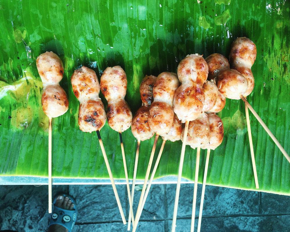 Tasty chicken sausage skewers