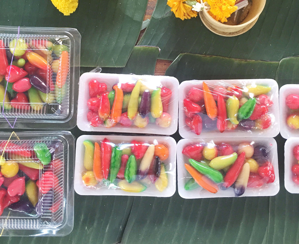 Fruit and vegetable shaped little desserts called Luk Chup.
