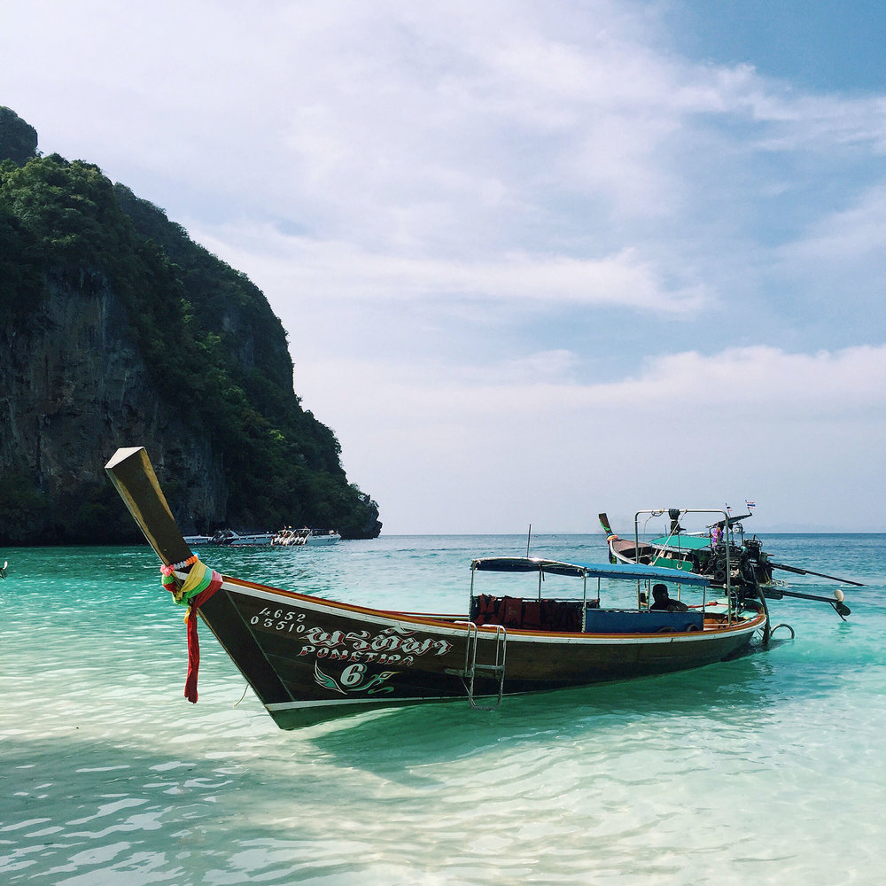 Boat docked in the Phi Phi Islands