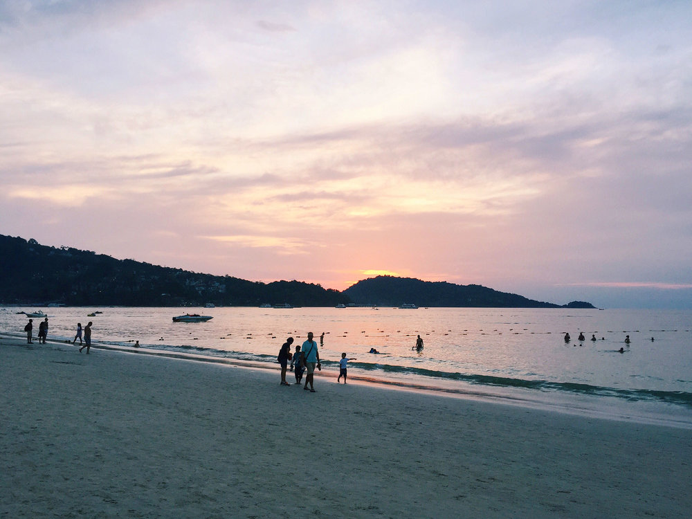A beautiful sunset at Patong Beach in Phuket