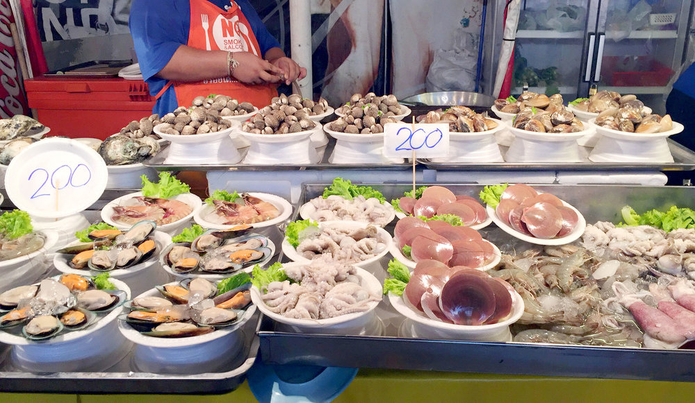 All the fresh seafood at the outdoor food court at Bangla Road