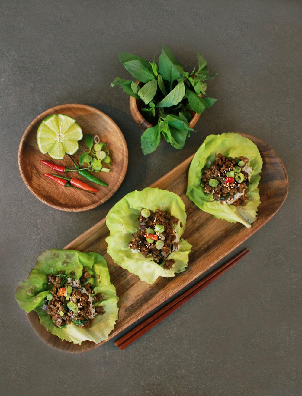 Vegan Thai Pad Ka Prao Lettuce Wraps