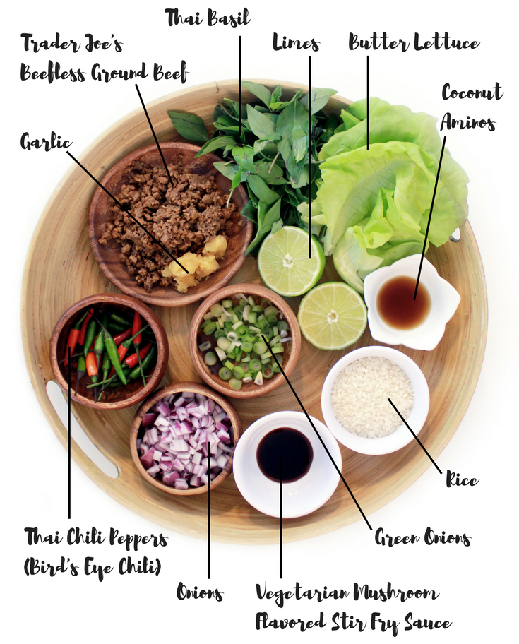 Ingredients for my Vegan Thai Pad Ka Prao Lettuce Wraps recipe!