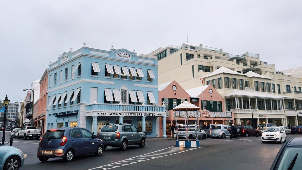 The cute pastel buildings in Hamilton.