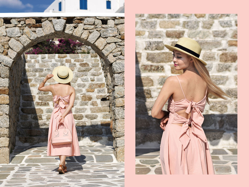 My Mykonos  #lookbook  is all about vacation vibes under the warm sunlight. When I think summer outfits, I imagine the cool touch of linen dresses, and straw hats for shade. Check it out now  #ontheblog  ! |  #travelMykonos  |  #summerfashion  |  #traveloutfit  |  #millennialpink  |  #Greece  | Madewell | Anne Klein | 💖