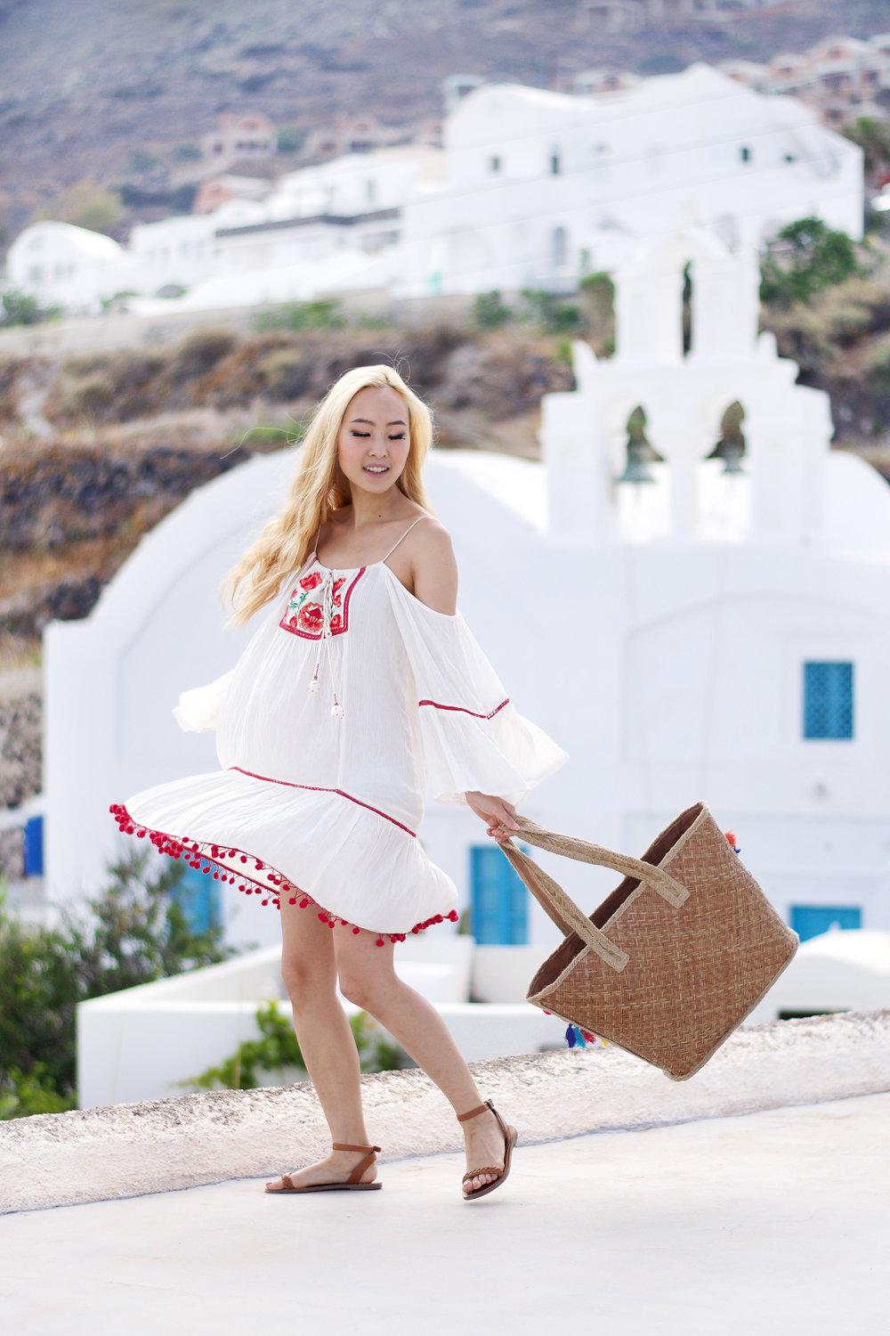 Happy Summer Loves! Summer has officially started and I'm basically jumping up and down thinking of everything I want to do in the amazing weather! The first outfit I wore in Greece for my Santorini Lookbook is all about the perfect sundress. |  #ontheblog  | #SantoriniFashion | #travelSantorini |  #summerfashion  |  #traveloutfit  |  #Greece  | Forever 21 | Madewell | sundress |