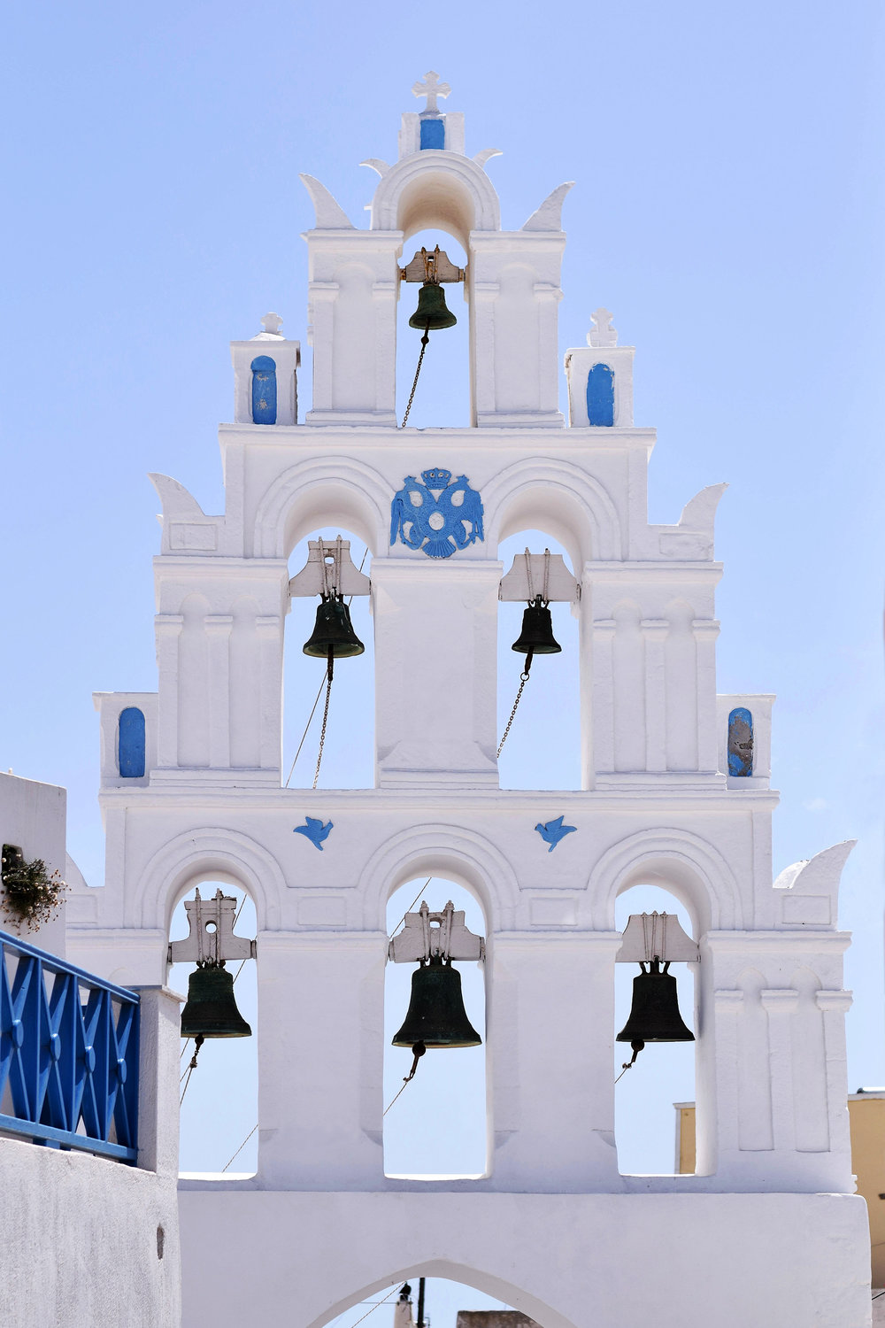 The bell tower in Megalochori, Santorini