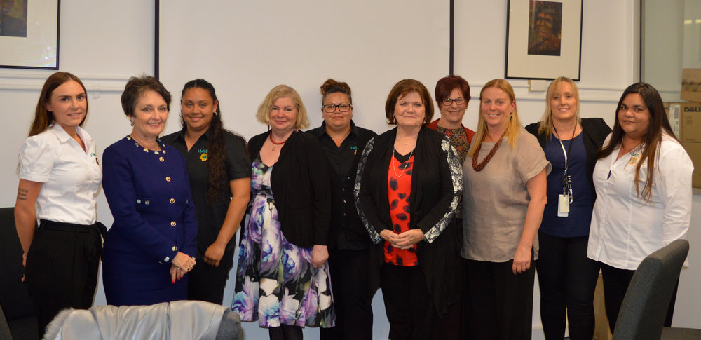 The Nabu and MacKillop Teams/Partnership meeting with Minister Goward and Shelley Hancock at Waminda
